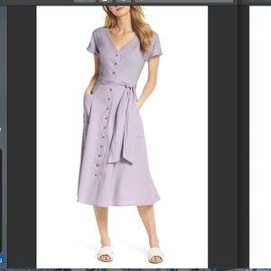Vanessa Button Front Linen Blend Midi Dress